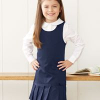 Girls' Twill Pleated Hem Jumper Thumbnail