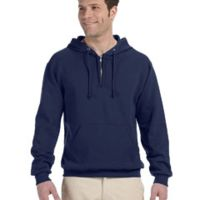 Adult 8 oz. NuBlend® Fleece Quarter-Zip Pullover Hood Thumbnail