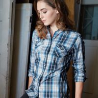 Vintage Women's Plaid Long Sleeve Shirt Thumbnail