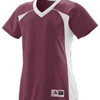 Ladies Polyester Mesh V-Neck Short-Sleeve Jersey Thumbnail