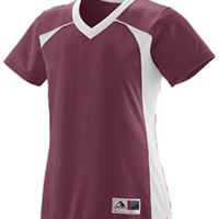 Girls Polyester Mesh V-Neck Short-Sleeve Jersey Thumbnail