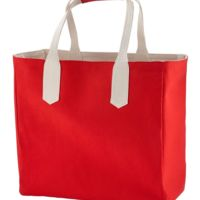 Solid Tote with Contrast Handles Thumbnail