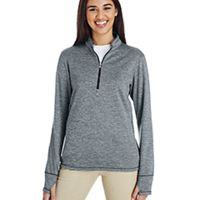 Ladies' 3-Stripes Heather Quarter-Zip Thumbnail
