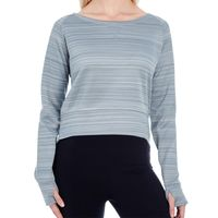 Ladies' Odyssey Striped Poly Fleece Hi-Lo Crew Thumbnail